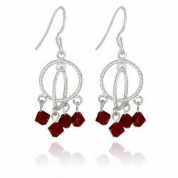 Pendientes de mujer con cristales rojos