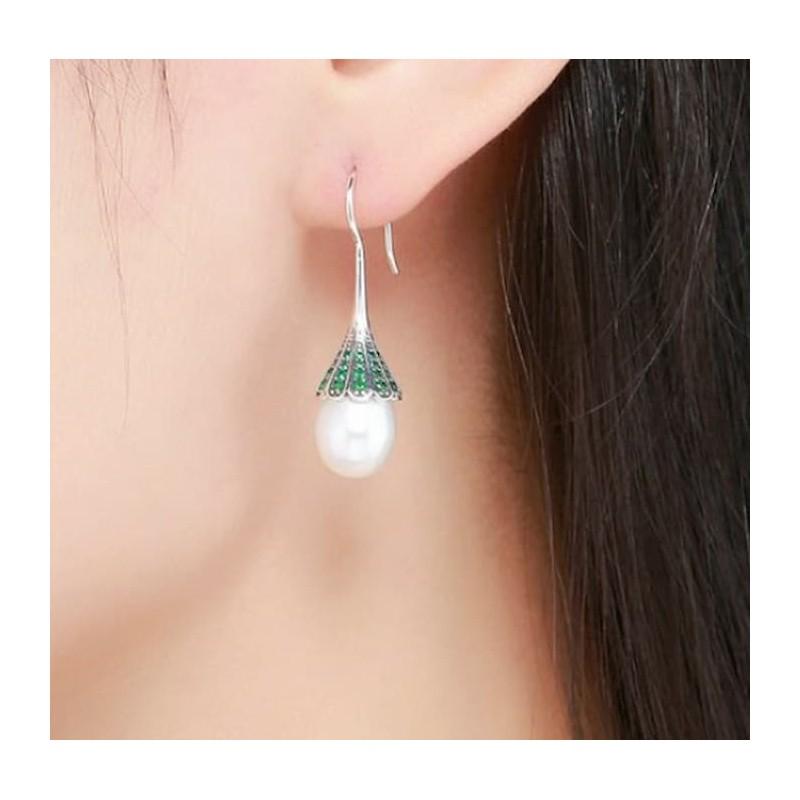 Pendientes de mujer de plata de ley 925 con perlas de agua dulce