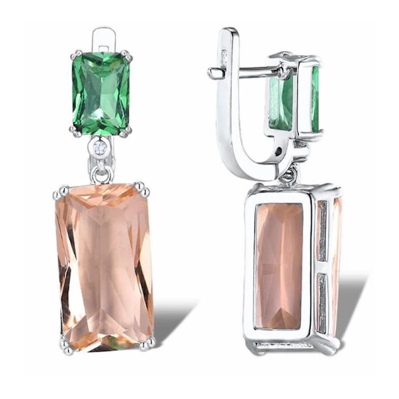 Pendientes de plata 925 de mujer con cristal verde