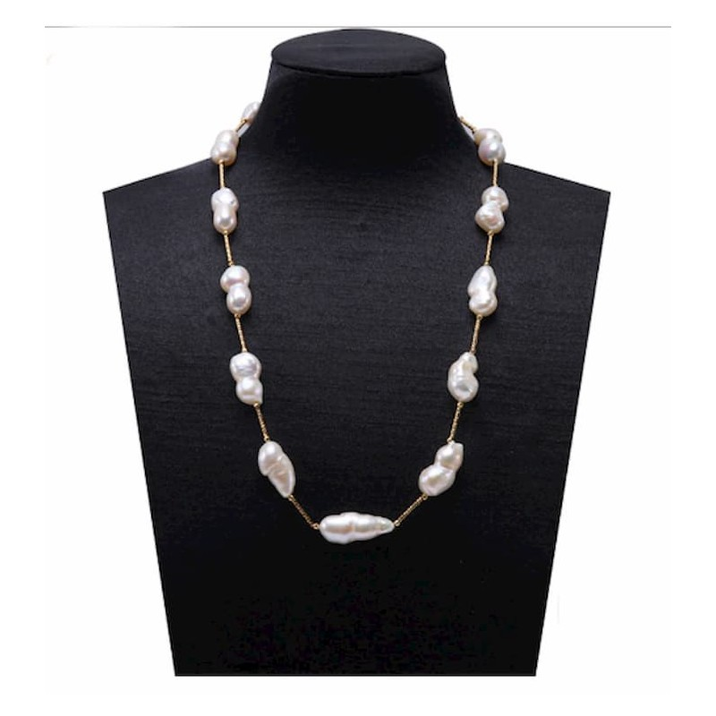 Collar de plata acabado oro 18k con perlas barrocas