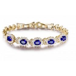Pulsera chapada oro 18k con piedras azules