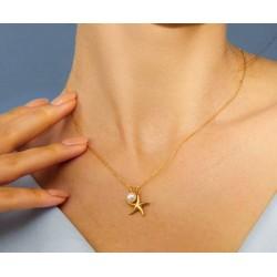 Collar de plata de ley 925 con estrella marina y circon