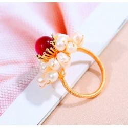 Anillo ajustable chapado oro 18k con perla de agua dulce