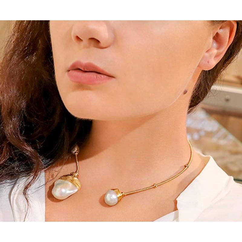 Cargantilla oro gold filled 14k perlas barrocas