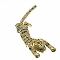 Broche leopardo de plata de...