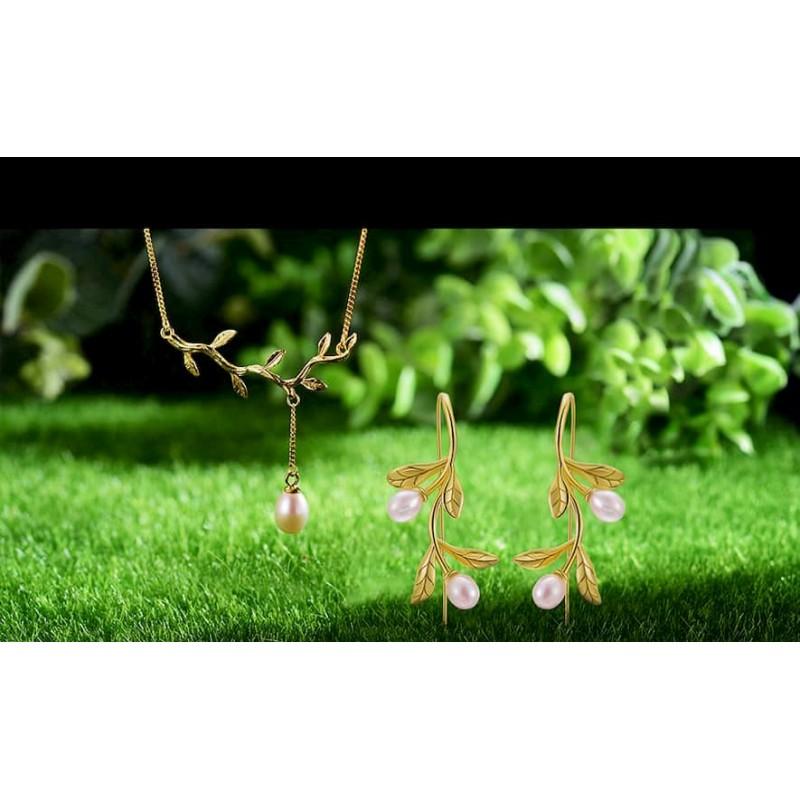 Conjunto de collar y aretes plata 925 con perla natural