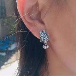 Pendientes plata ley 925 con tres perlas