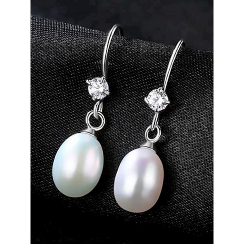 Pendientes colgantes de plata fina con perlas cultivadas