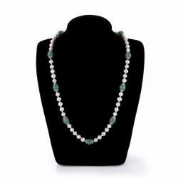 Collar de plata fina con perlas y piedras verdes