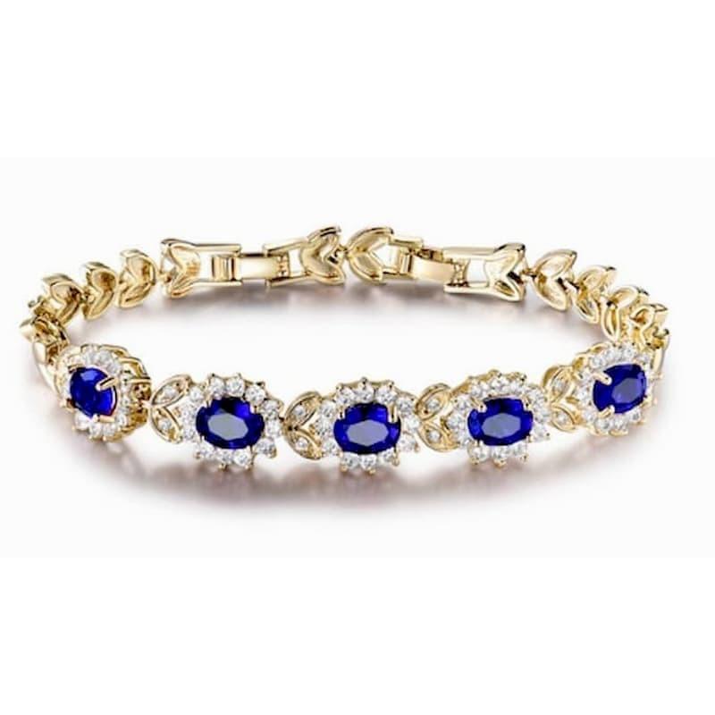 Pulsera de mujer de acero y piedras azules
