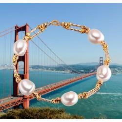 Pulsera de perlas blancas y plata 925