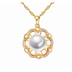 Collar de plata diseño flor con perla