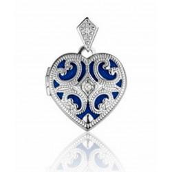 relicario de plata corazón con circonias