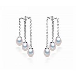 Pendientes de perlas blancas de rio