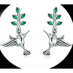 Pendientes ave colibri