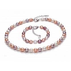 Conjunto de collar y perlas cultivadas de río