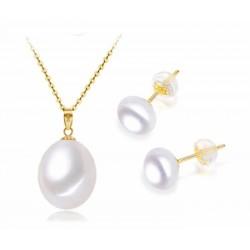 Set de collar y pendientes con accesorios de oro y cadena de plata 925