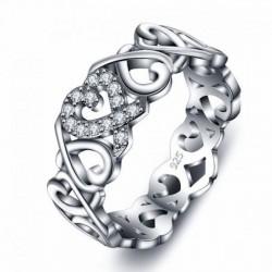 Alianzas de plata fina diseño de corazón