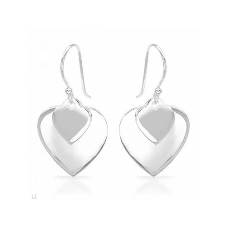 Pendientes de plata fina  corazón